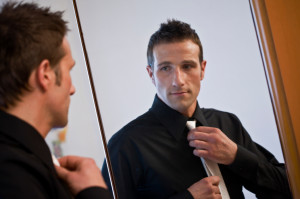 Man getting ready for a date or wedding